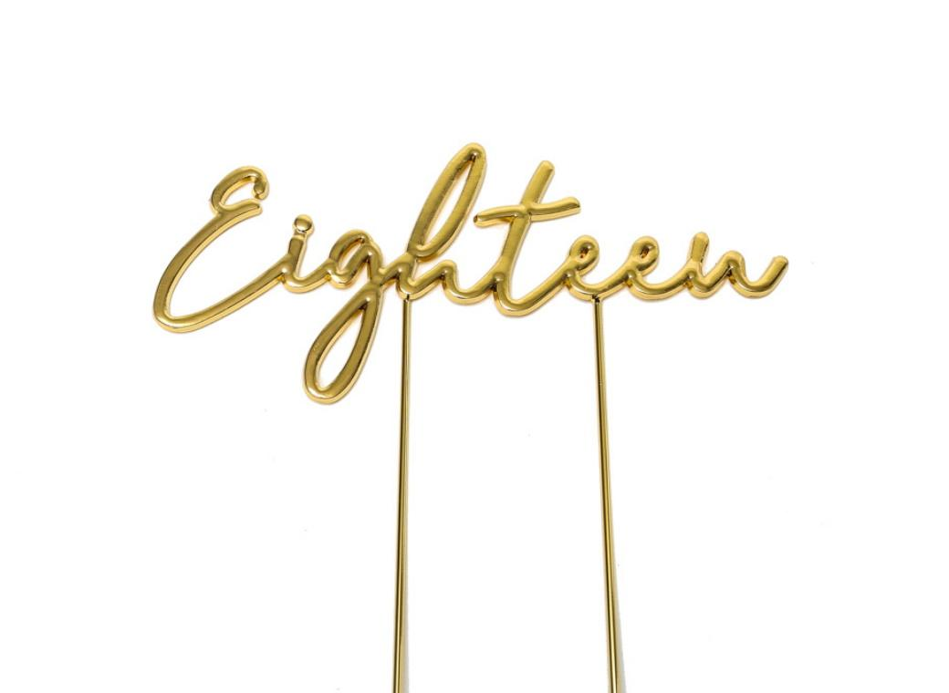 Gold Plated Cake Topper - Eighteen