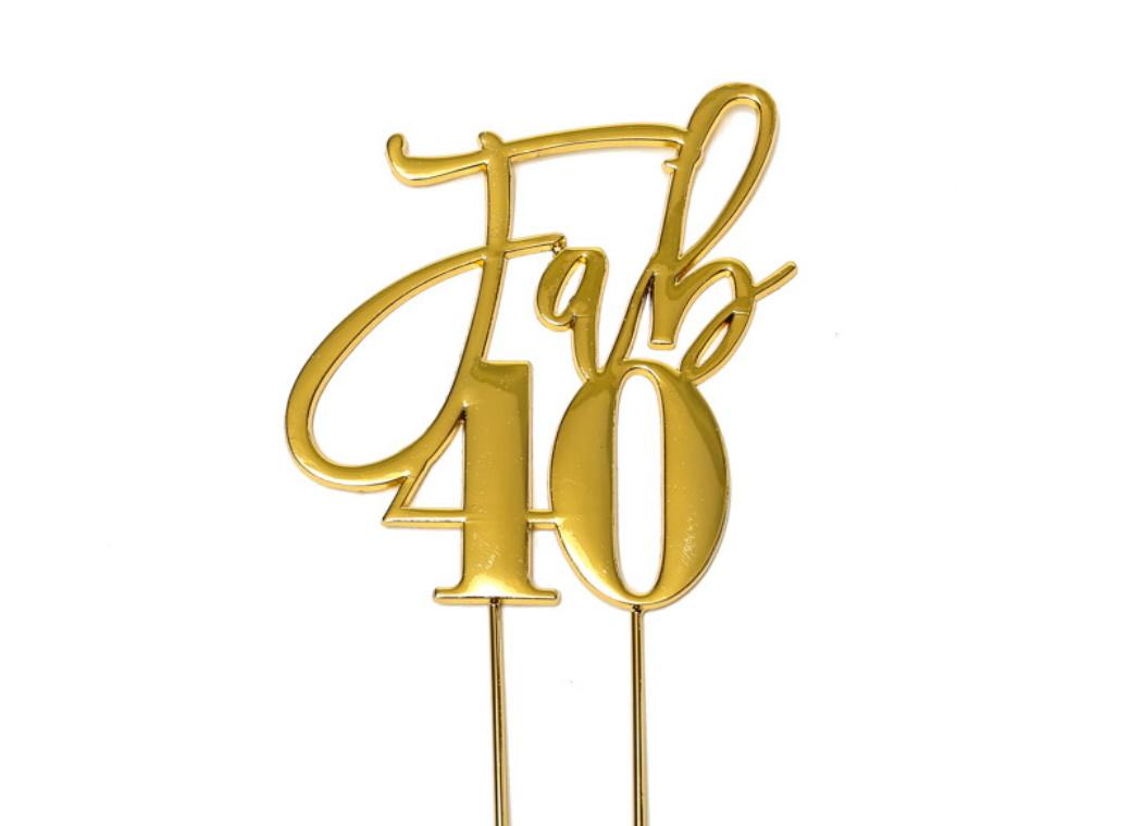 Gold Plated Cake Topper - Fab 40