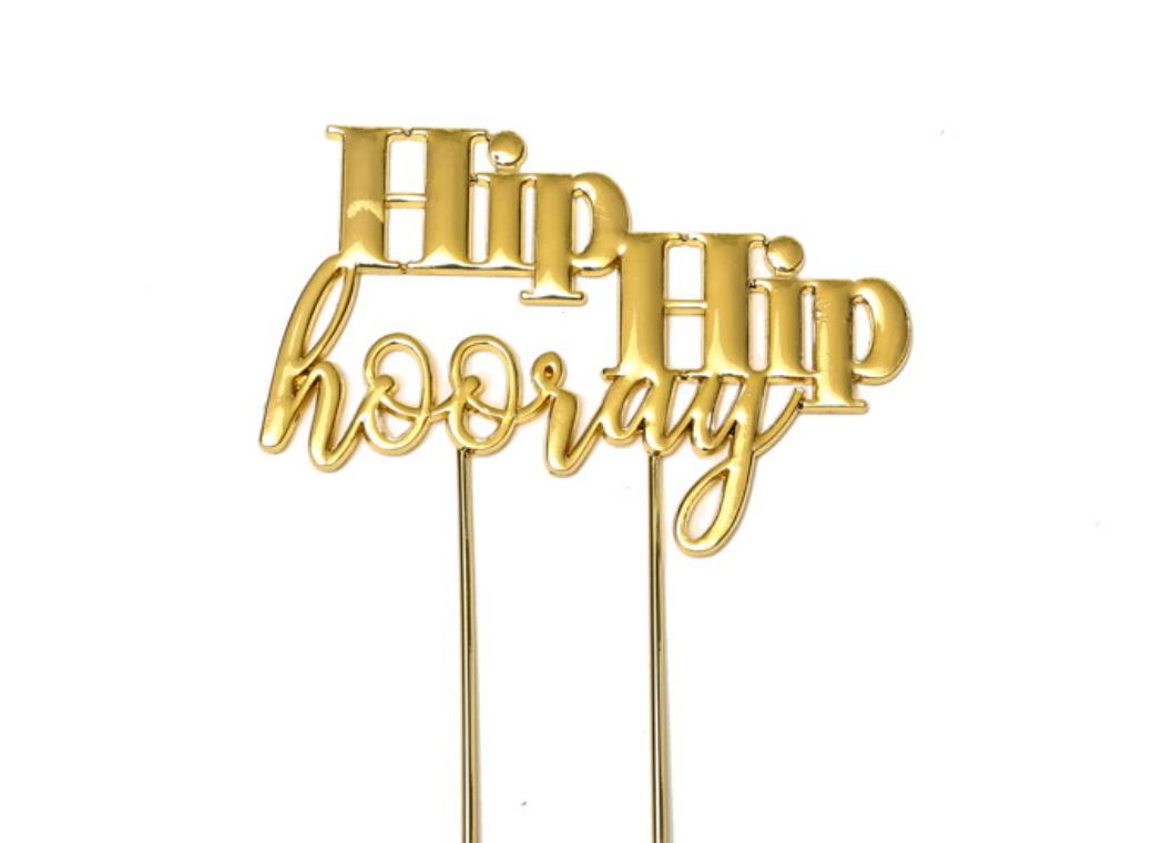 Gold Plated Cake Topper - Hip Hip Hooray