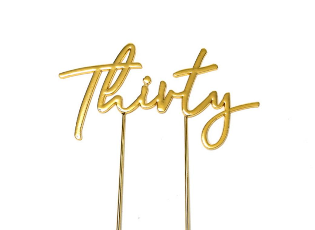 Gold Plated Cake Topper - Thirty