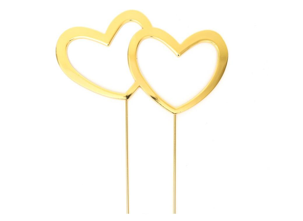 Gold Plated Cake Topper - Double Hearts
