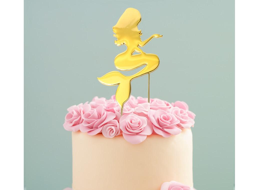 Gold Plated Cake Topper - Mermaid