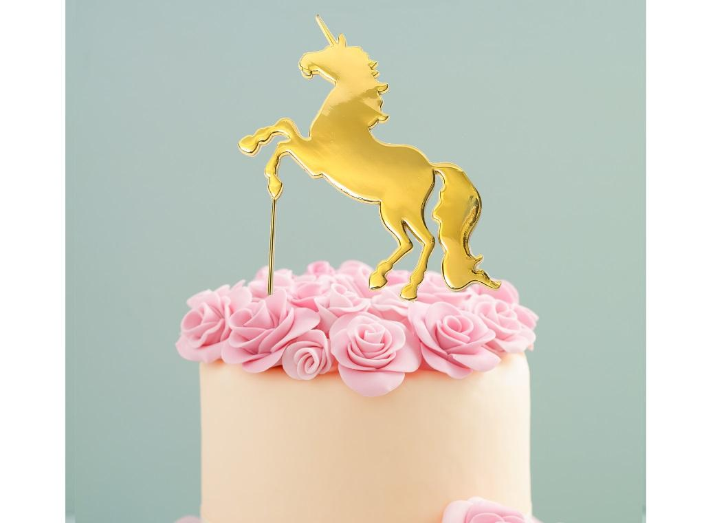 Gold Plated Cake Topper - Unicorn