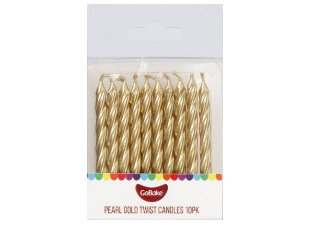 GoBake Twist Candles - Gold 10pk