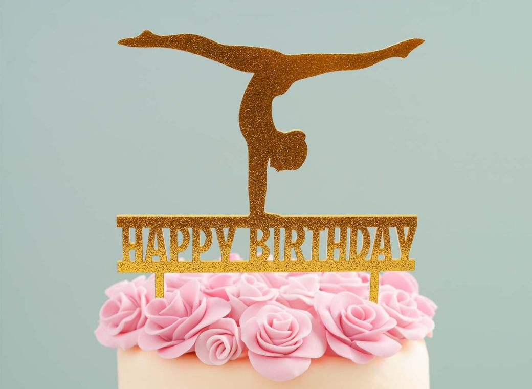 Gymnast Cake Topper Gold