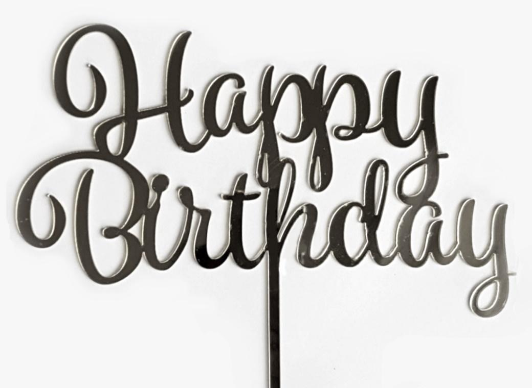GoBake Happy Birthday Cake Topper - Silver