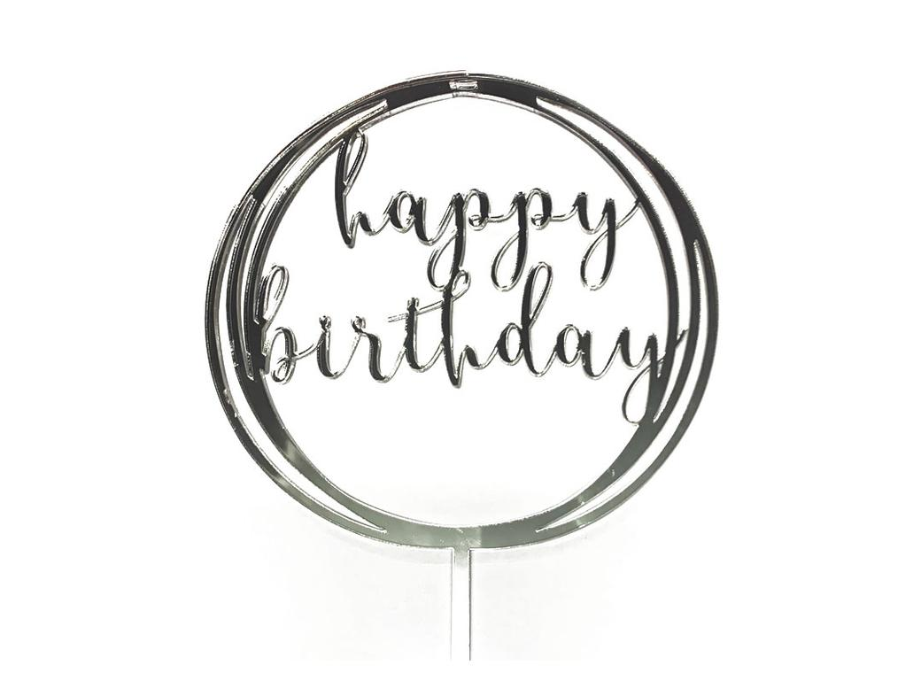 Circle Happy Birthday Topper - Silver