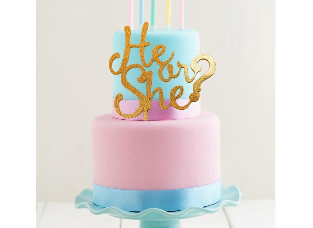 Gold Acrylic Cake Topper - He or She