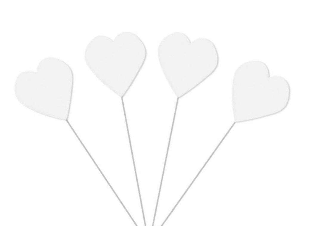 Icing Heart on Wire - White
