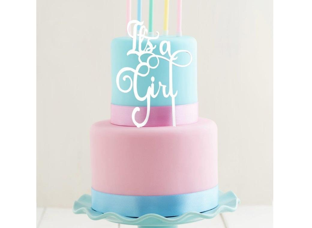 White Acrylic Cake Topper - It's A Girl