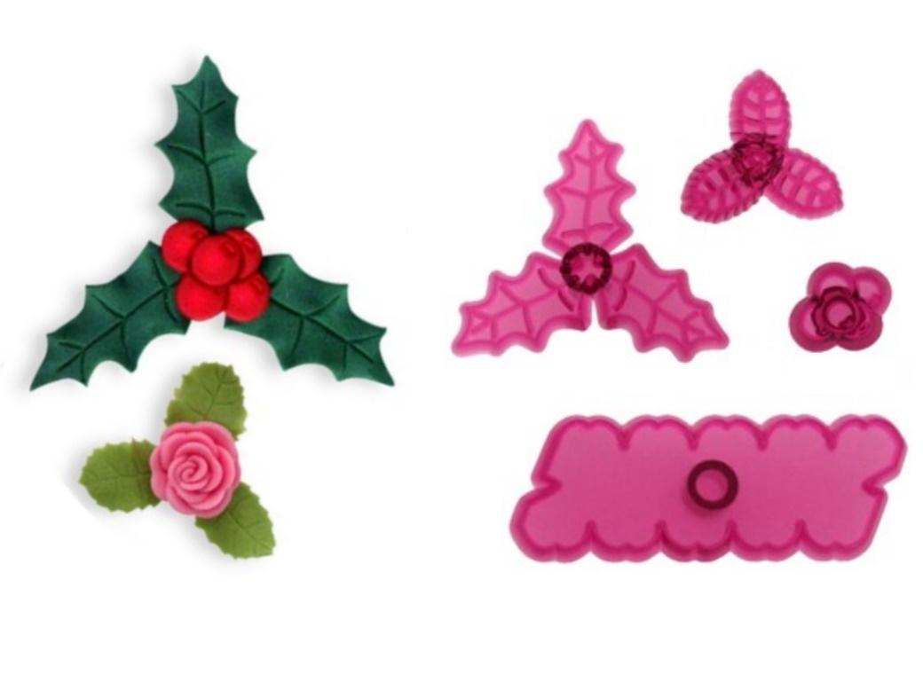 JEM Cupid Rose Holly & Berries 4pce Cutter Set