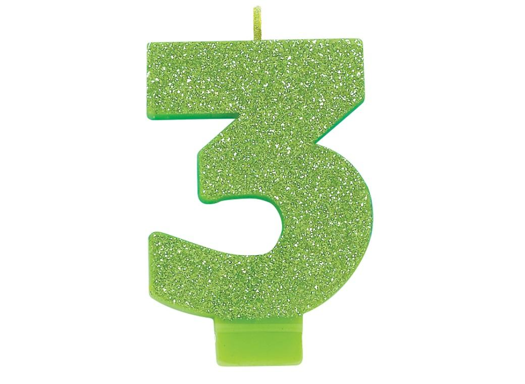Lime Green Glitter Candle - Number 3