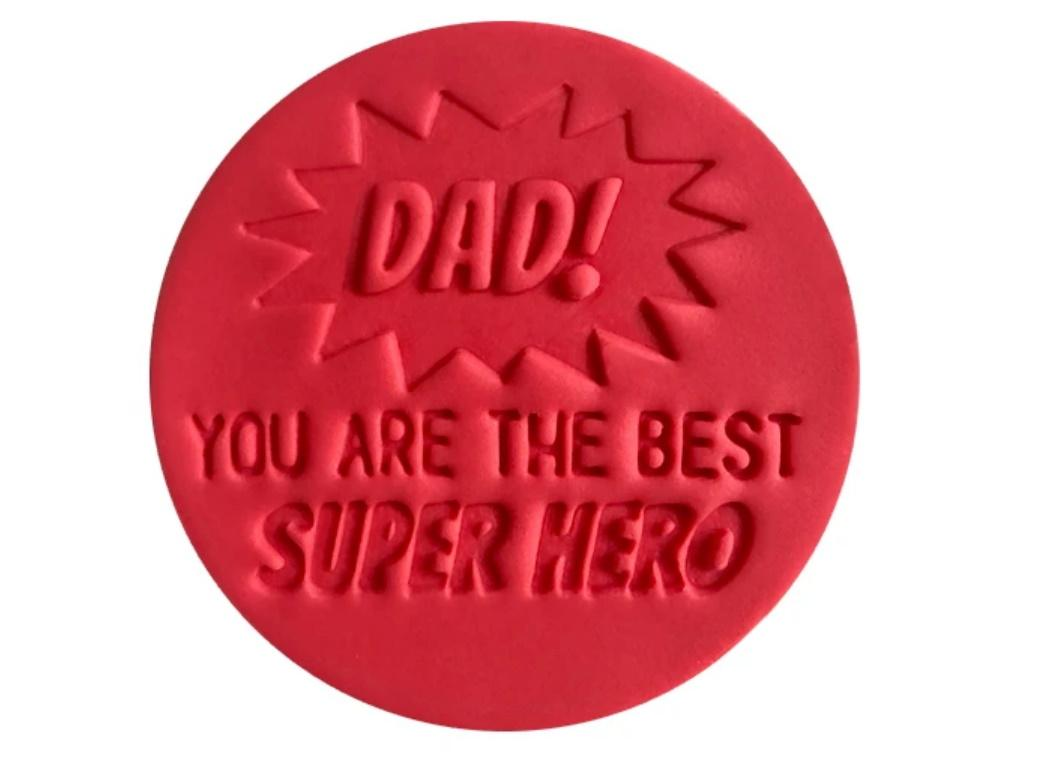 Little Biskut Dad! You Are the Best Super Hero Embosser