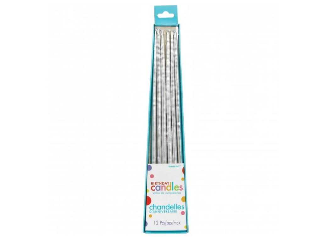 Long Taper Candles 12pk - Silver