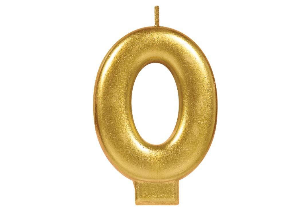 Metallic Gold Candle - Number 0