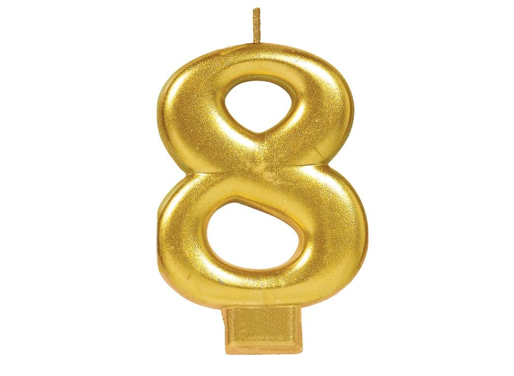 Metallic Gold Candle - Number 8