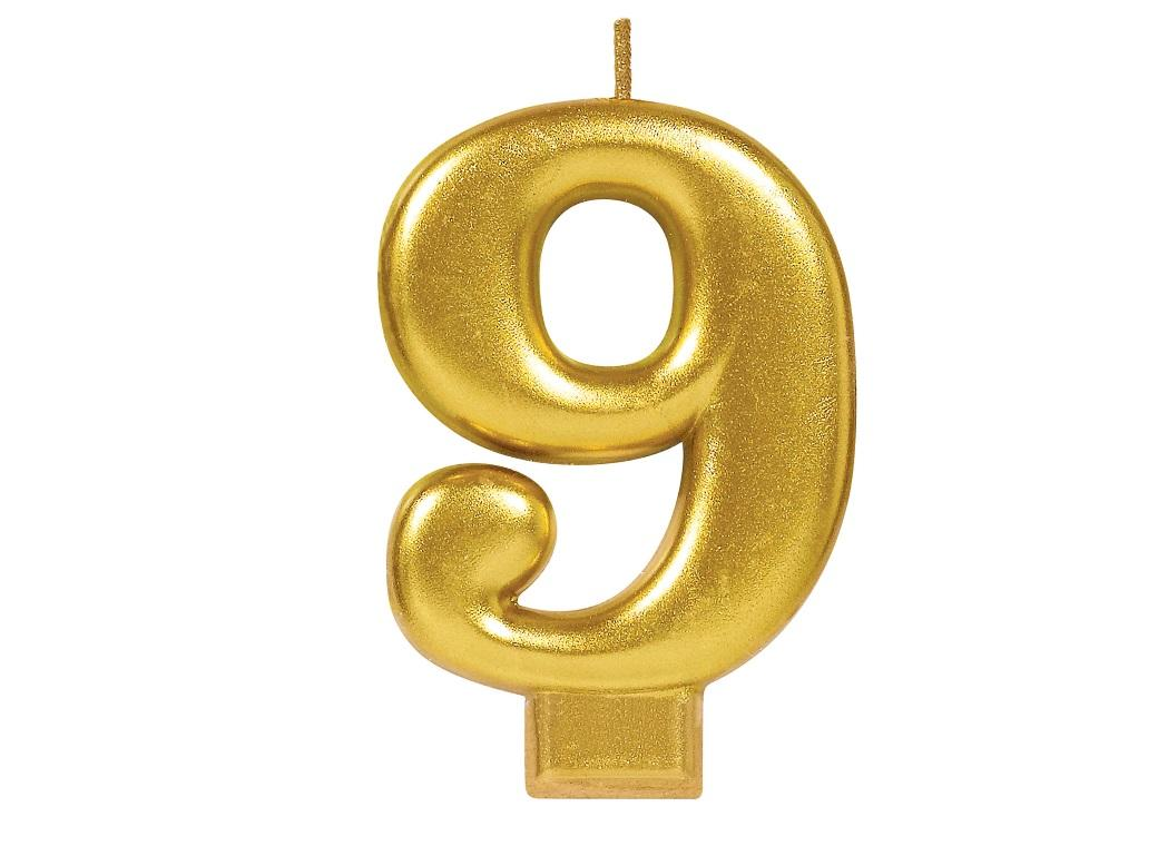 Metallic Gold Candle - Number 9