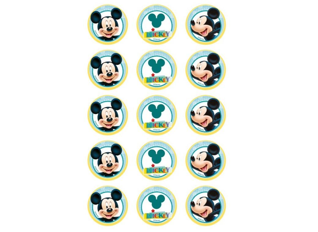 Edible Wafer Cupcake Toppers - Mickey Mouse