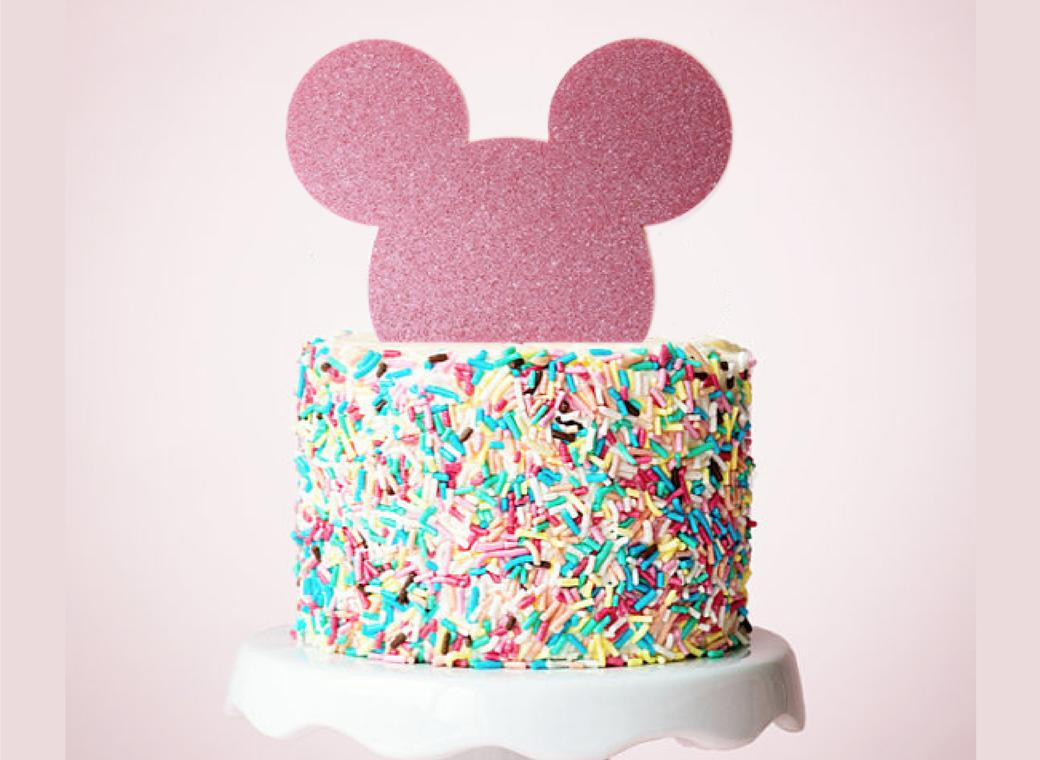 Mouse Cake Topper - Pink Glitter
