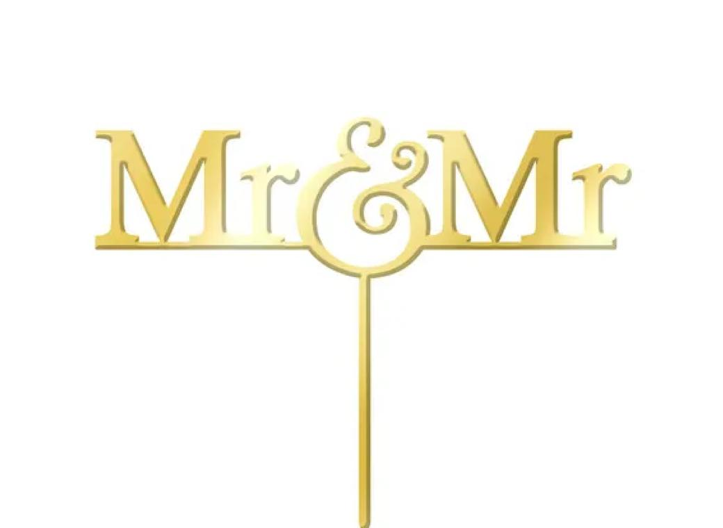 Mr & Mr Gold Cake Topper