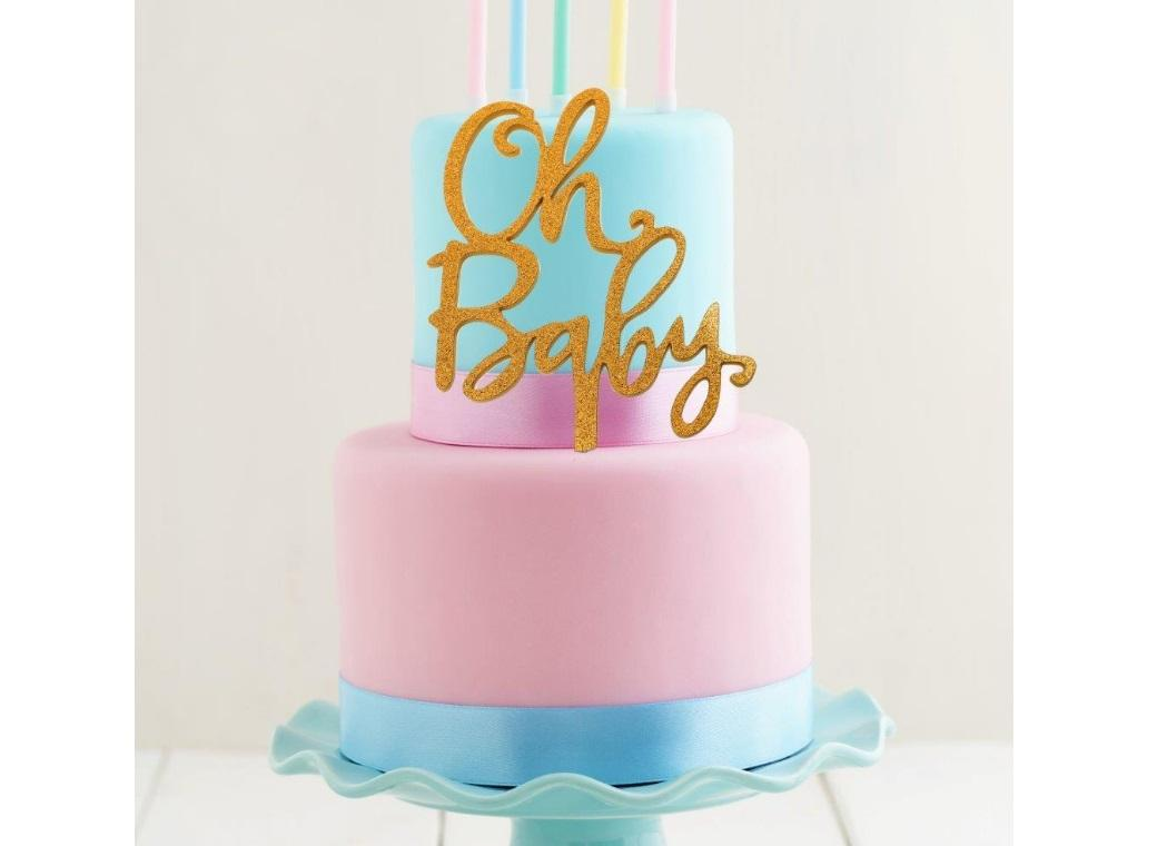 Gold Acrylic Cake Topper - OH BABY