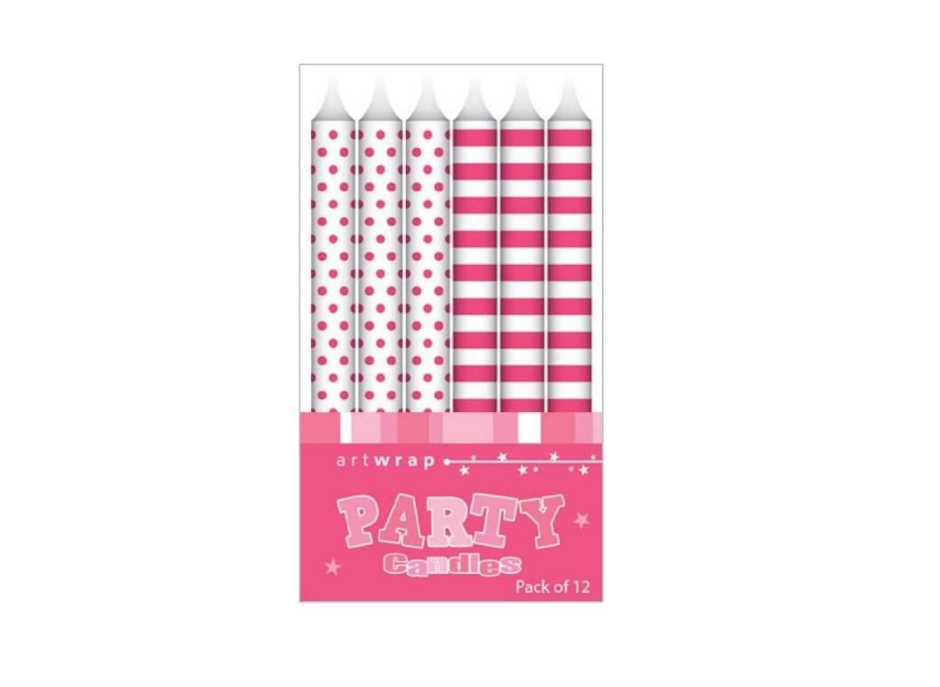 Party Candles - Pink Spots & Stripes