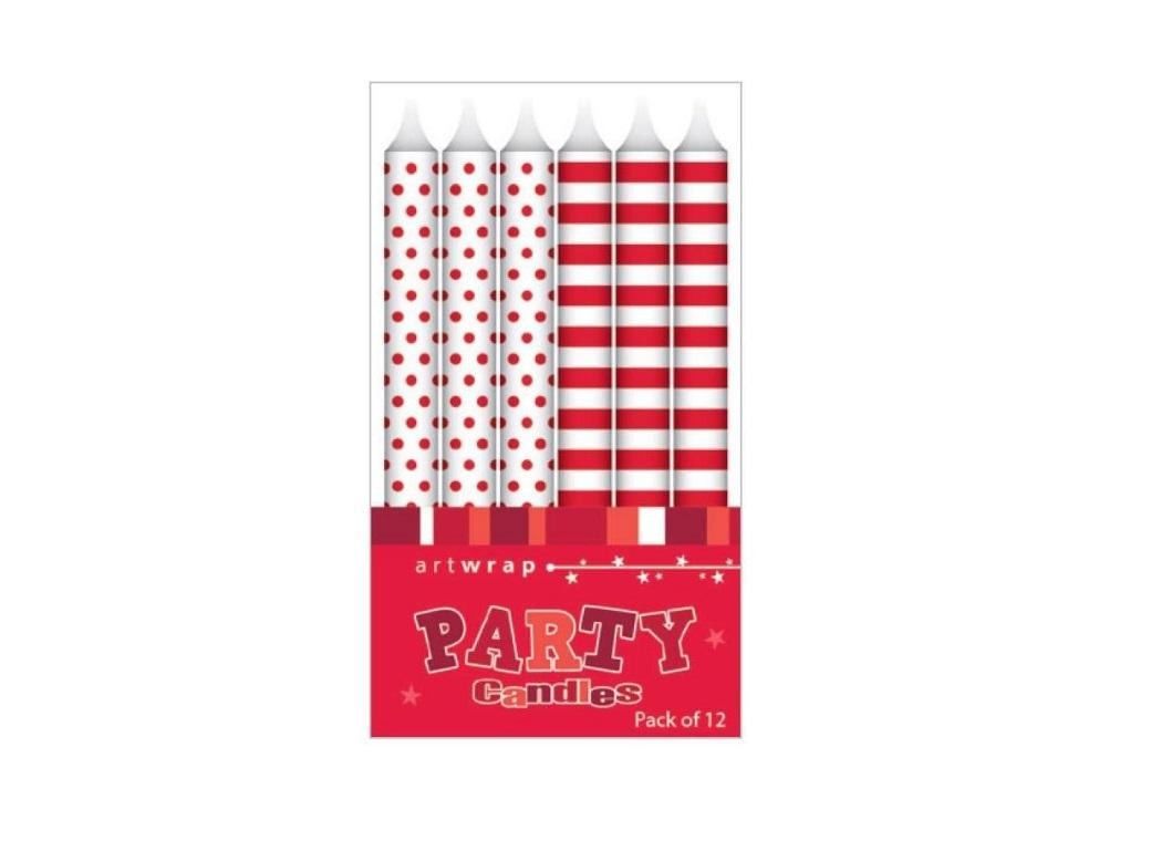 Party Candles - Red Spots & Stripes