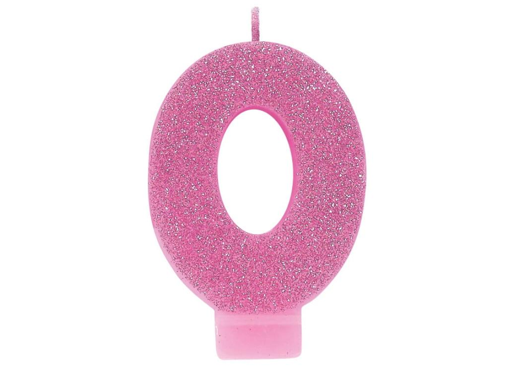 Pink Glitter Candle - Number 0