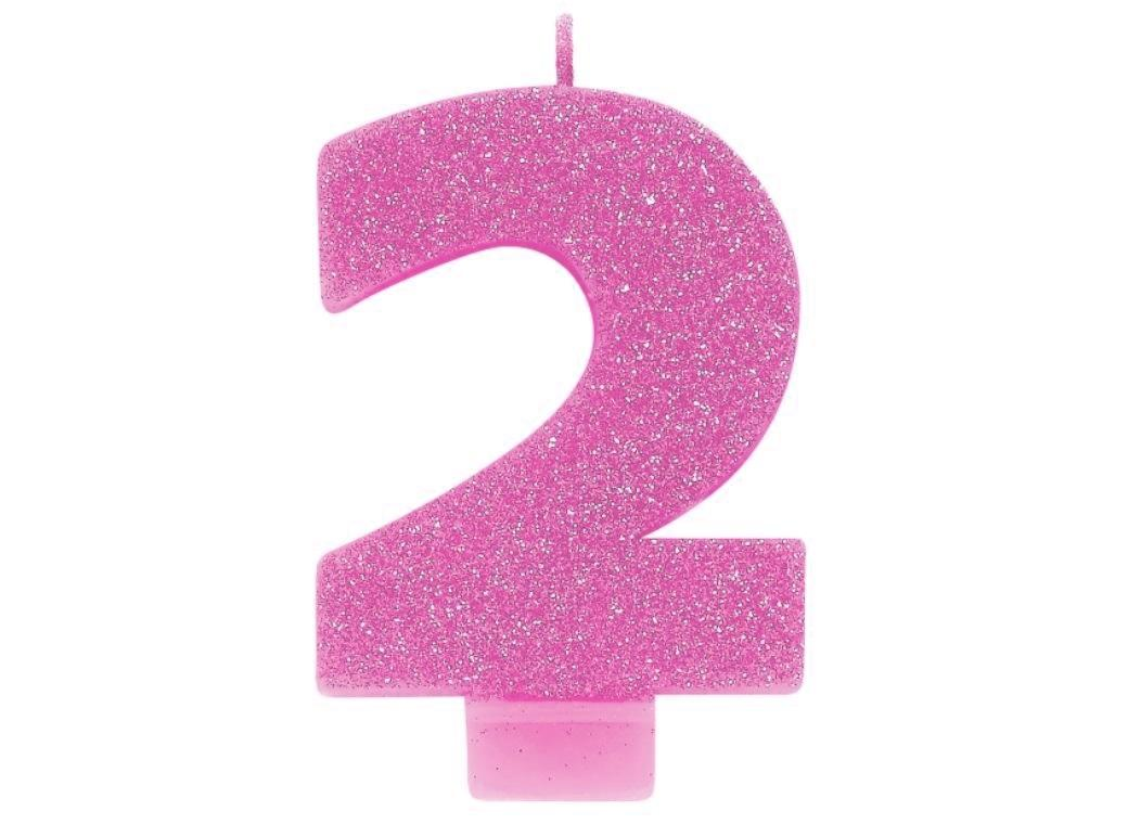 Pink Glitter Candle - Number 2