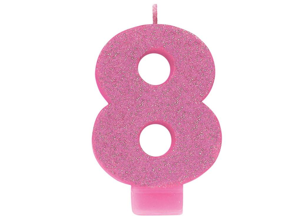 Pink Glitter Candle - Number 8