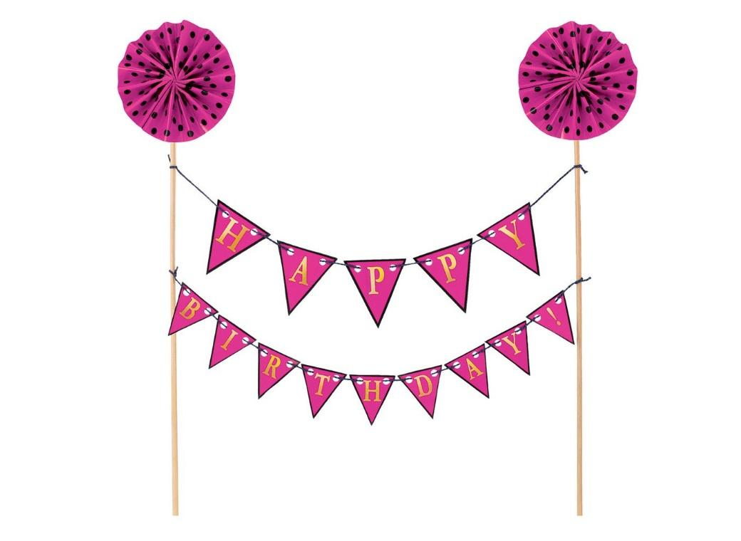 Pink Happy Birthday Bunting Cake Topper