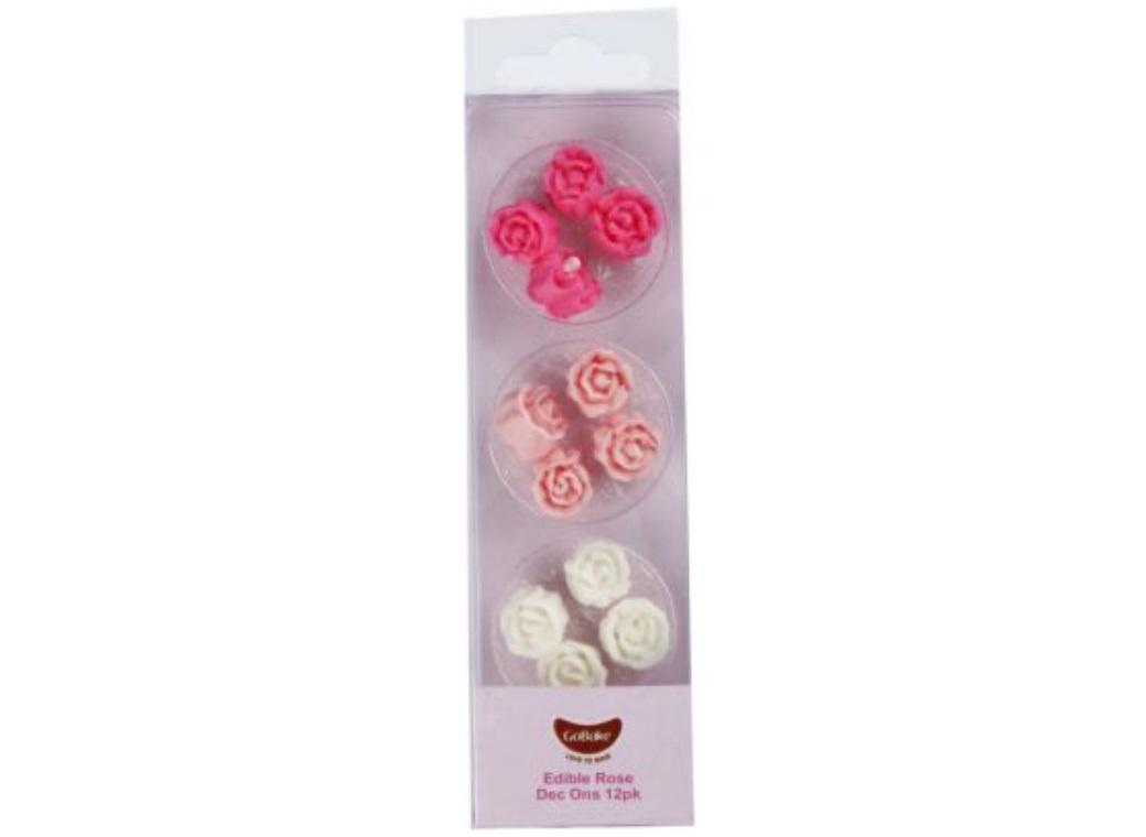 GoBake Dec Ons Pink Roses - 12pk