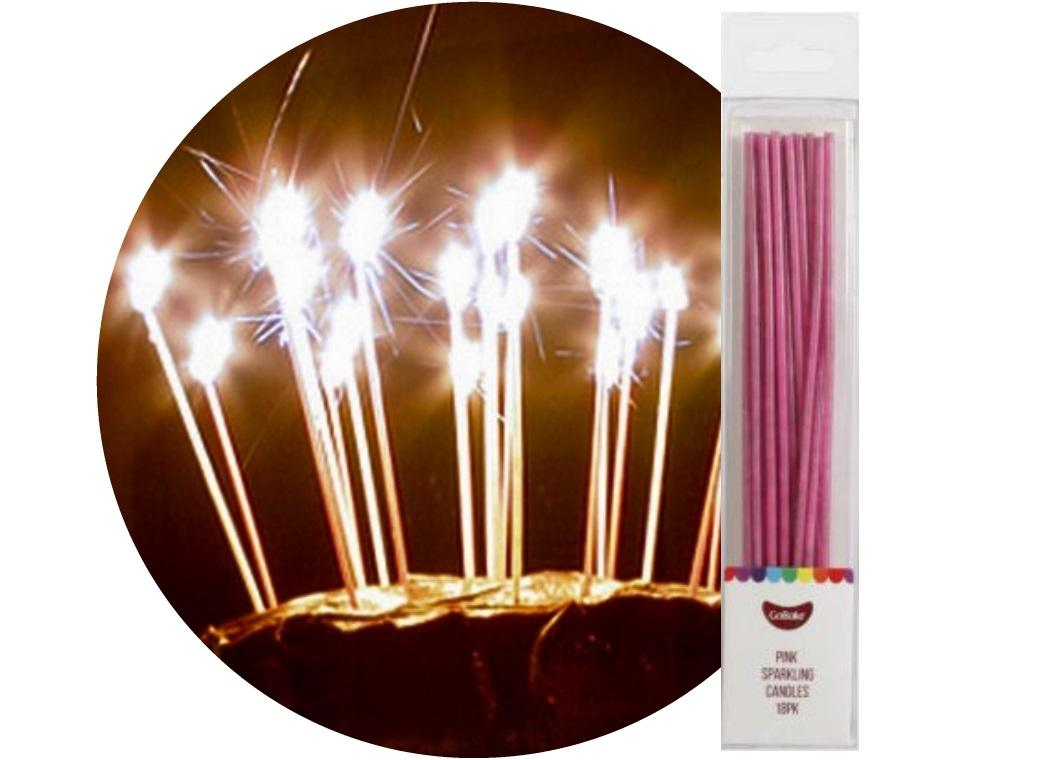 Sparkling Candles 18pk Pink