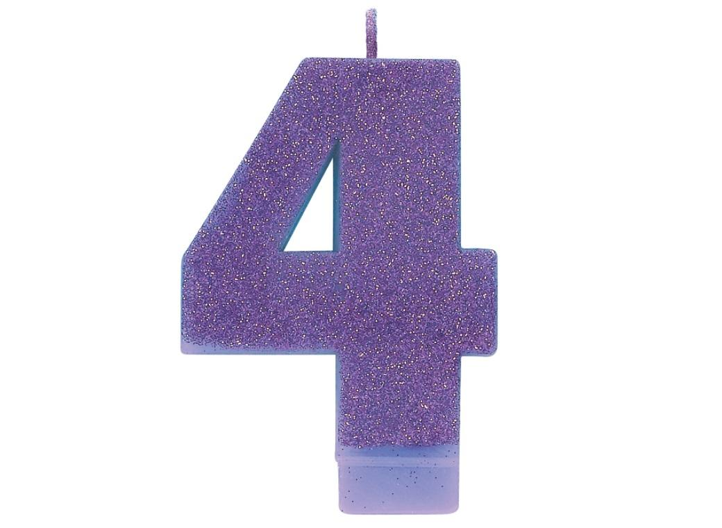 Purple Glitter Candle - Number 4