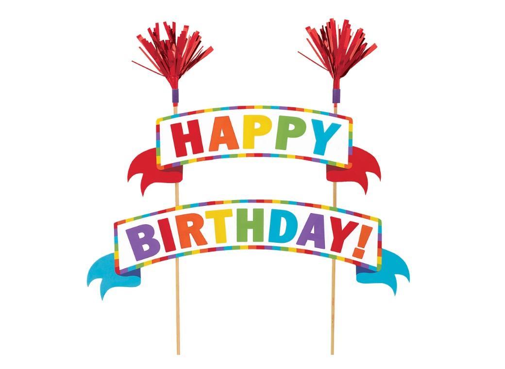 Rainbow Happy Birthday Banner Cake Topper