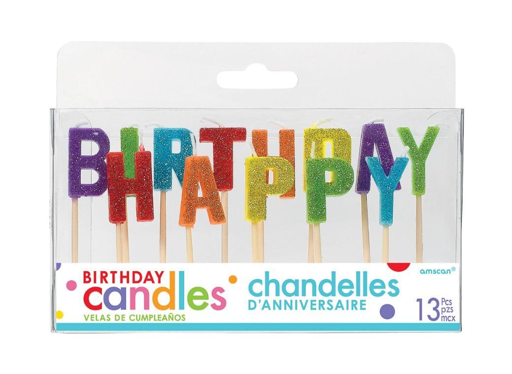 Rainbow Happy Birthday Candle Set