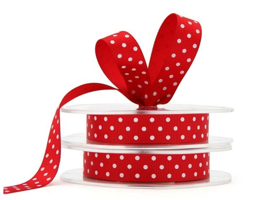 Grosgrain Ribbon Spots - Red & White