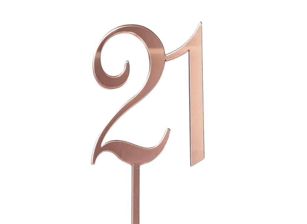 21 Cake Topper - Rose Gold Mirror
