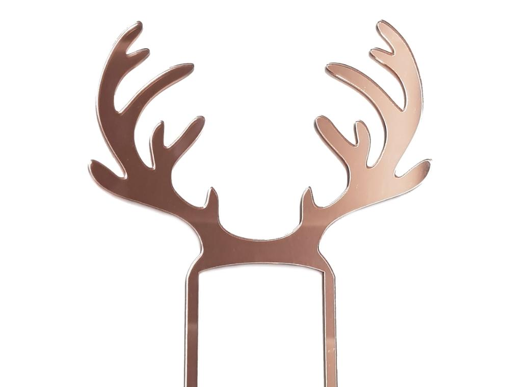 Reindeer Antlers Cake Topper - Rose Gold Mirror