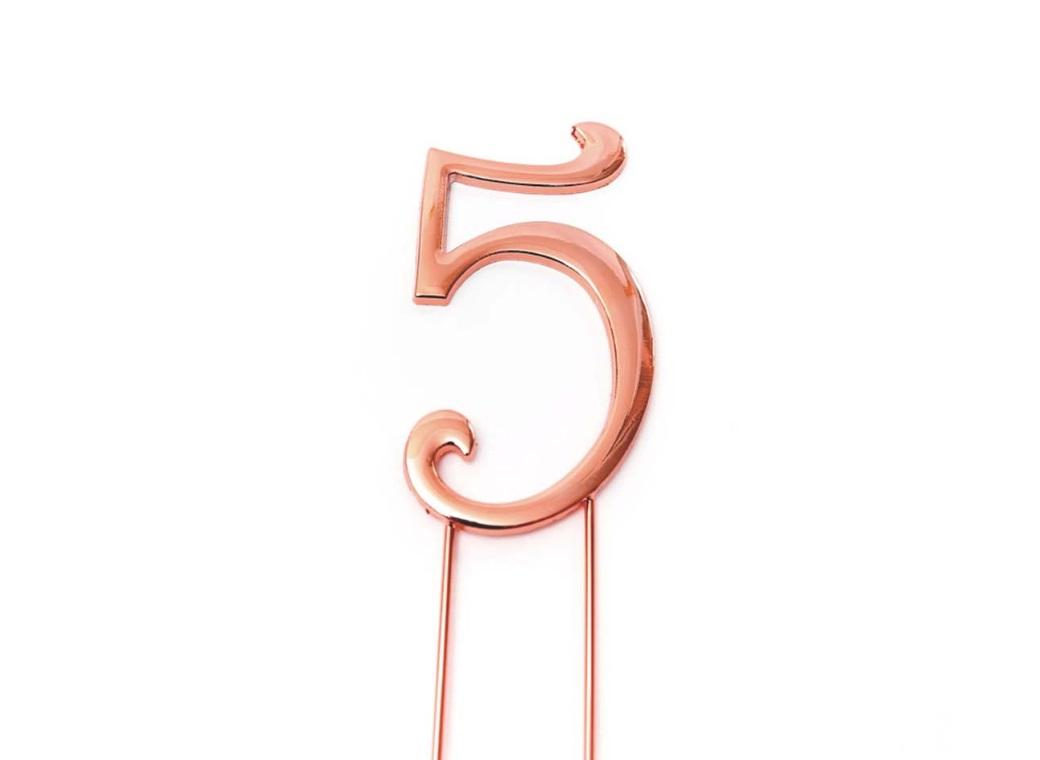 Rose Gold Cake Topper - Number 5