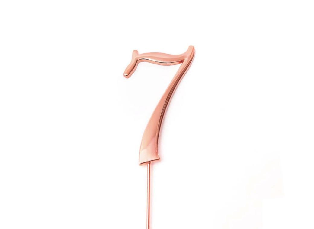 Rose Gold Cake Topper - Number 7