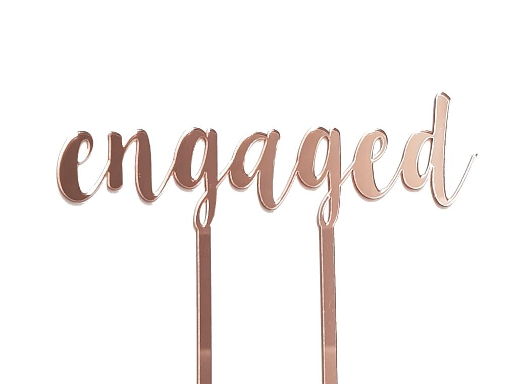 Engaged Cake Topper - Rose Gold Mirror
