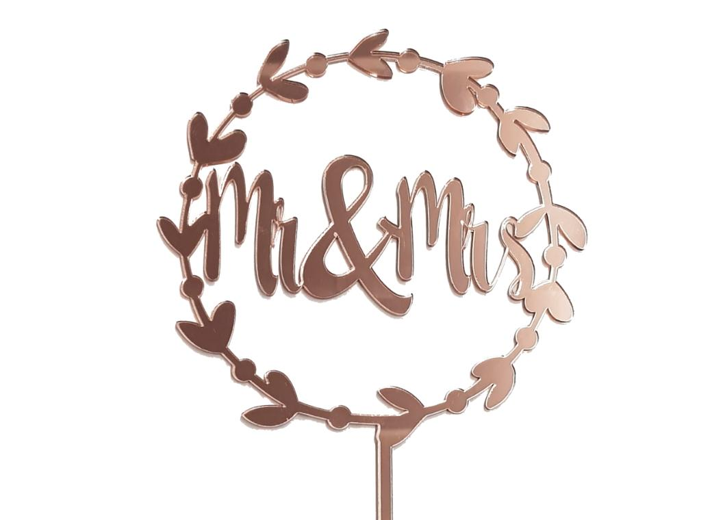 Mr & Mrs Wreath Cake Topper - Rose Gold Mirror