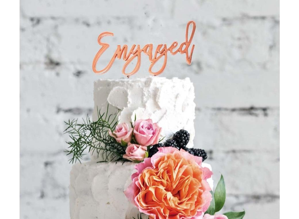 Rose Gold Plated Cake Topper - Engaged