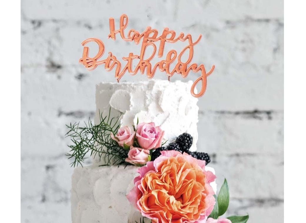 Rose Gold Plated Cake Topper - Happy Birthday