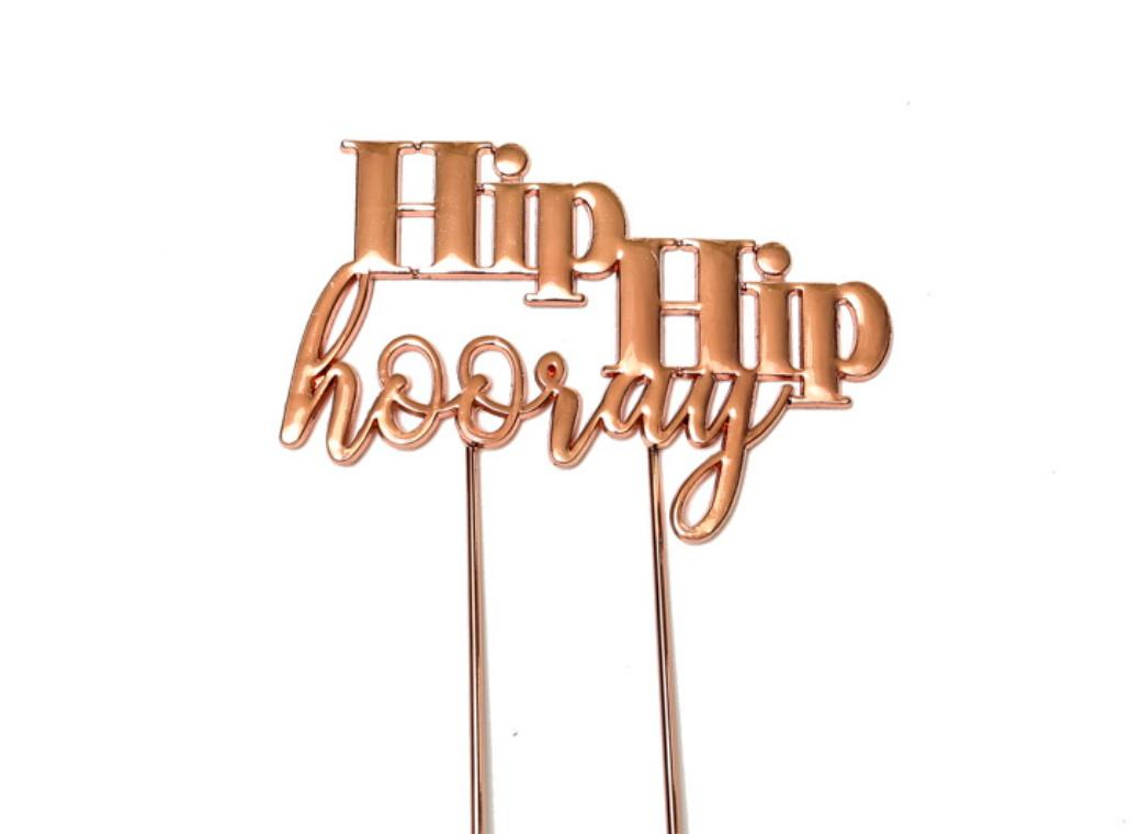 Rose Gold Plated Cake Topper - Hip Hip Hooray