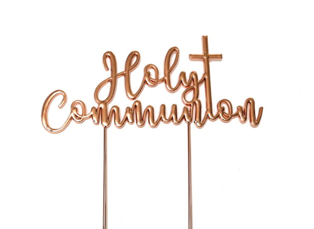Rose Gold Plated Cake Topper - Holy Communion