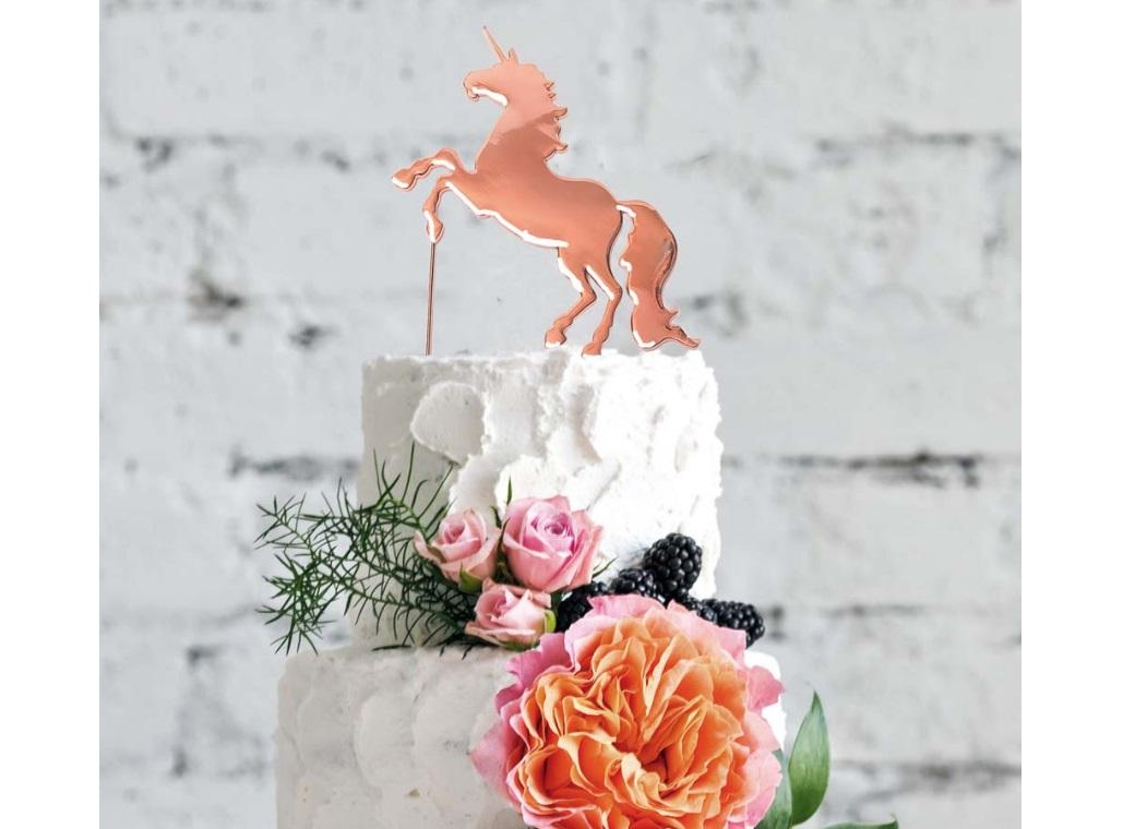 Rose Gold Plated Cake Topper - Unicorn