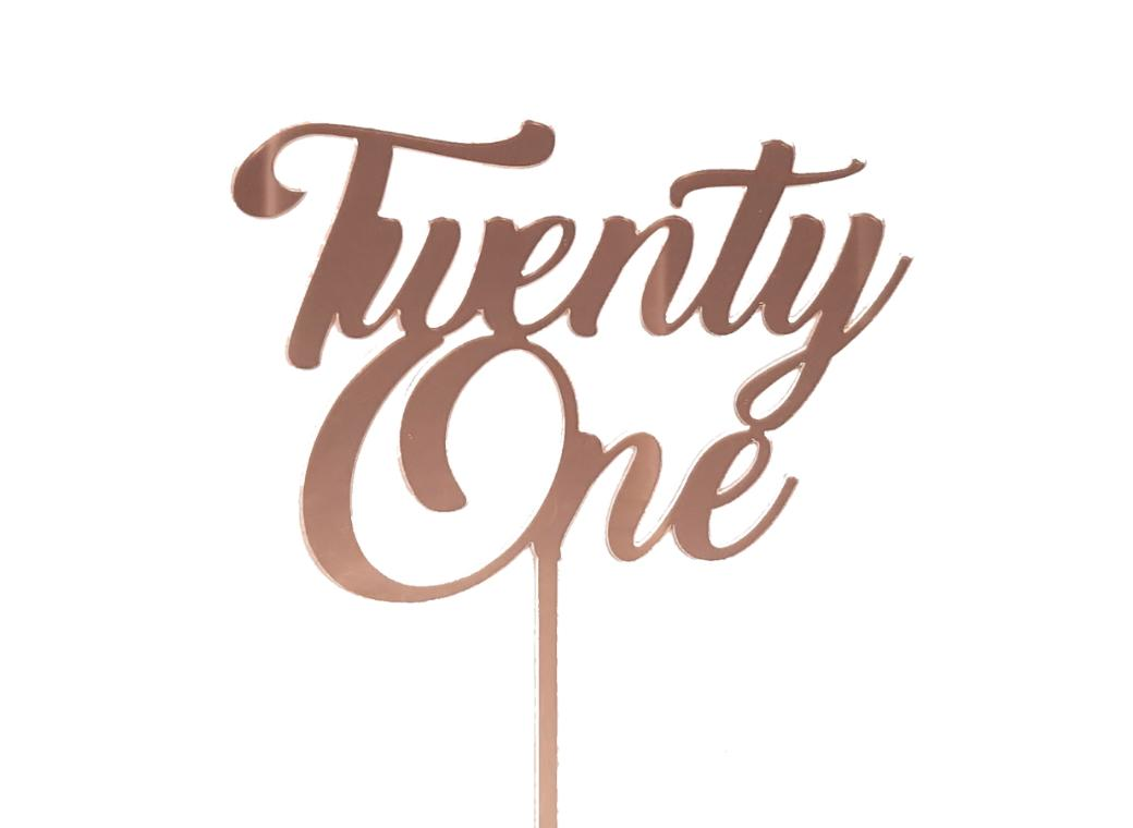 Twenty One Cake Topper - Rose Gold Mirror