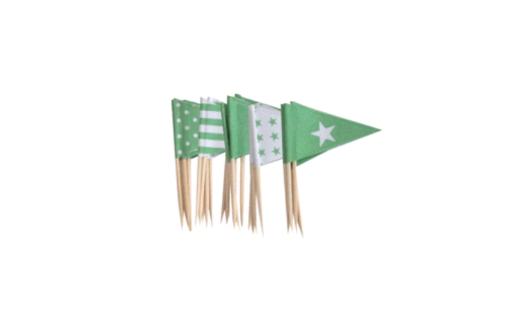 Cupcake Toppers - Mint Green Flags